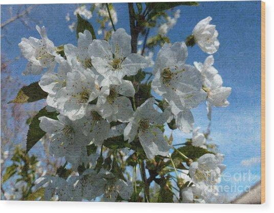 White Flowers - Variation 2 Wood Print