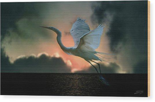 White Heron At Sundown Wood Print