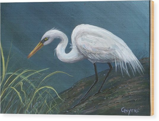 White Heron Wood Print by Peggy Conyers