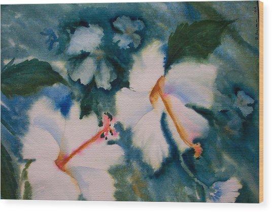 White Hibiscus Wood Print by Ruth Bevan