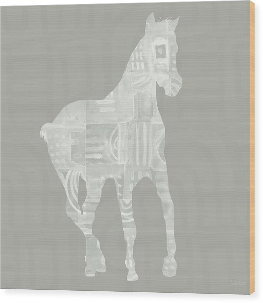 White Horse 3- Art By Linda Woods Wood Print