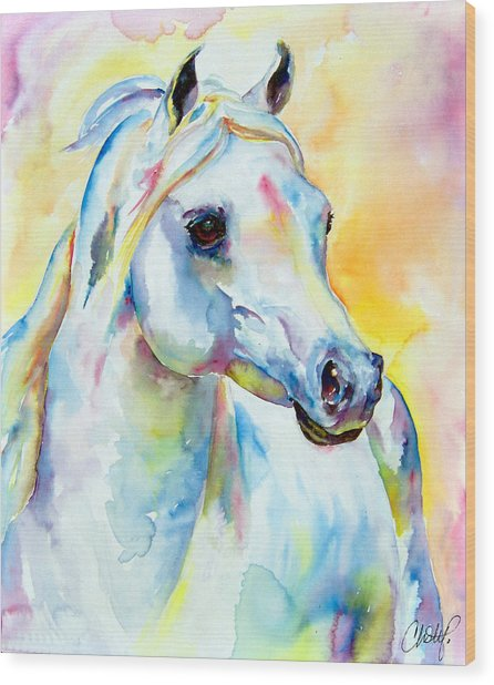 White Horse Portrait Wood Print