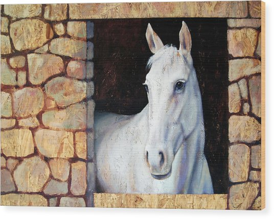 White Horse1 Wood Print by Farhan Abouassali