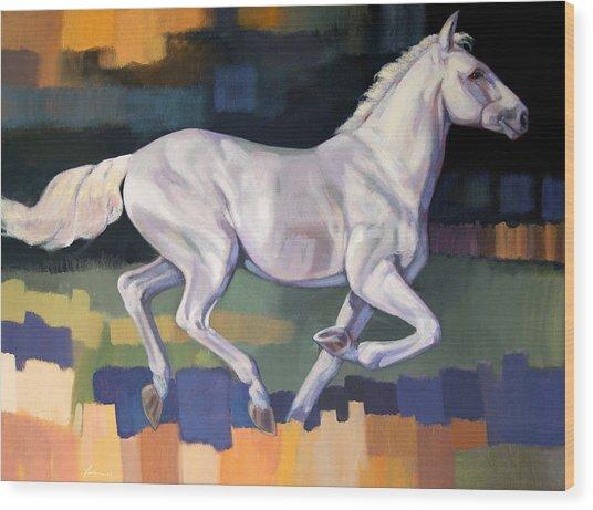 White Horse2 Wood Print by Farhan Abouassali