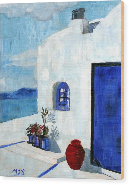 White House In Santorini Wood Print by Maria Soto Robbins