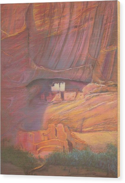 White House Rock  Home Of He Anasazi He Anasazi Wood Print by Pamela Mccabe