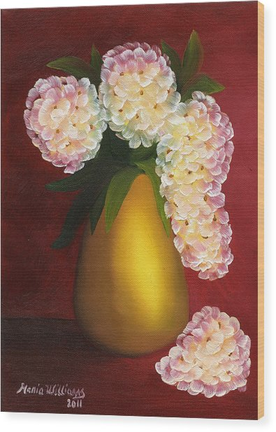 White Hydrangeas In A Golden Vase Wood Print by Maria Williams