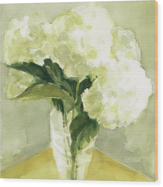 White Hydrangeas Morning Light Wood Print
