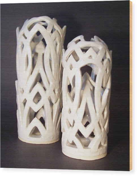White Interlaced Sculptures Wood Print