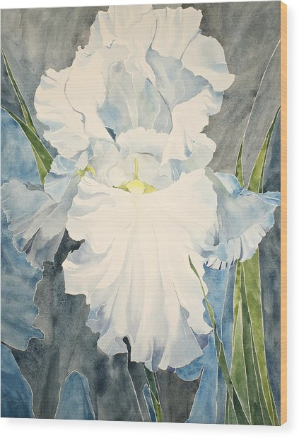 White Iris - For Van Gogh - Posthumously Presented Paintings Of Sachi Spohn   Wood Print