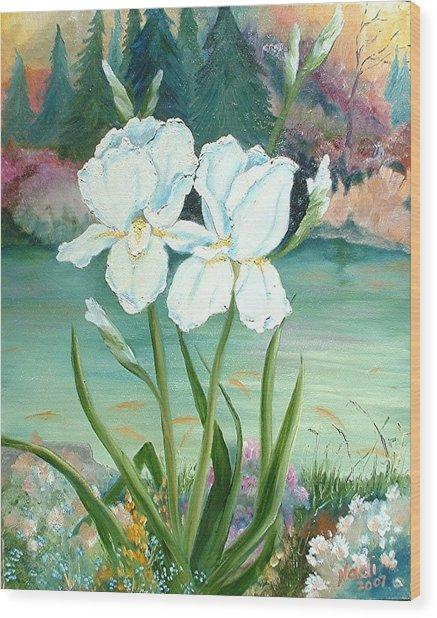 White Iris Love Wood Print