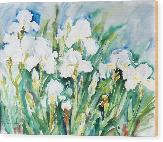 White Irises Wood Print
