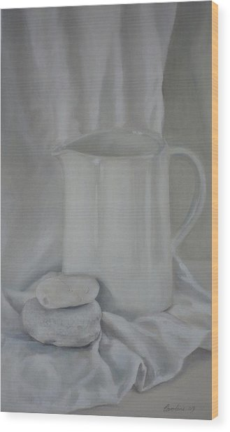 White Jug And Pebbles Wood Print