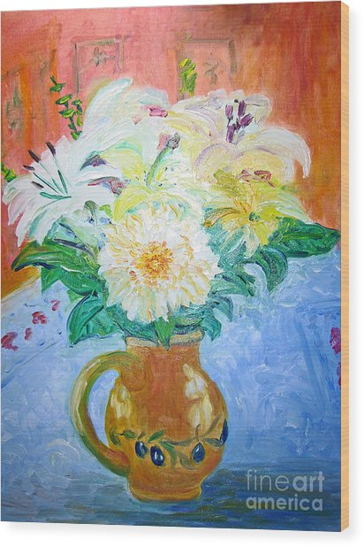White Lilies In Olive Jug Wood Print