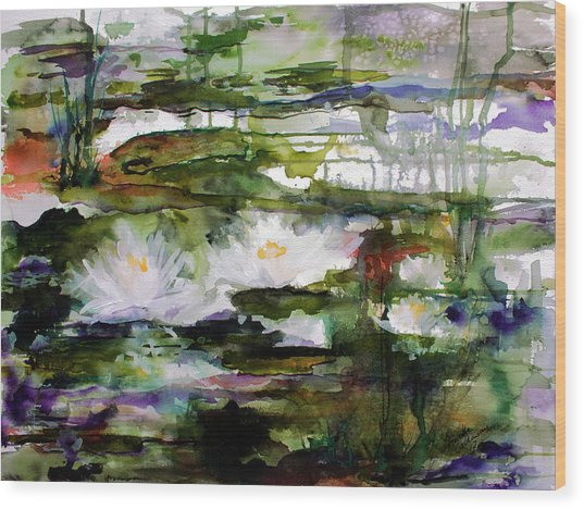 White Lilies On Black Water Wetland Wood Print
