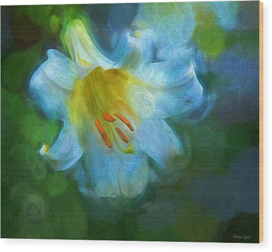 White Lily Obscure Wood Print