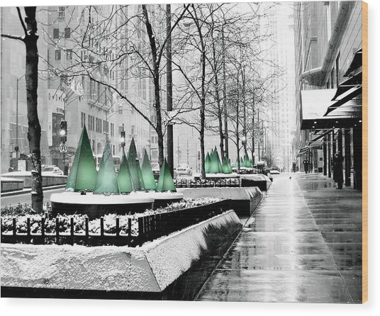 White Mag Mile Christmas Wood Print