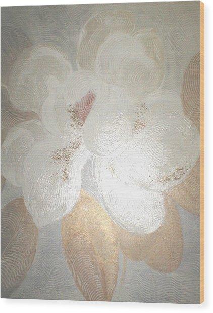 White Magnolia Wood Print by Marja Koskinen-Talavera