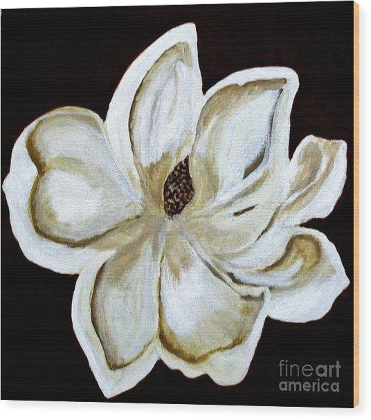 White Magnolia On Black Wood Print by Marsha Heiken