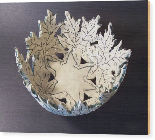 White Maple Leaf Bowl Wood Print