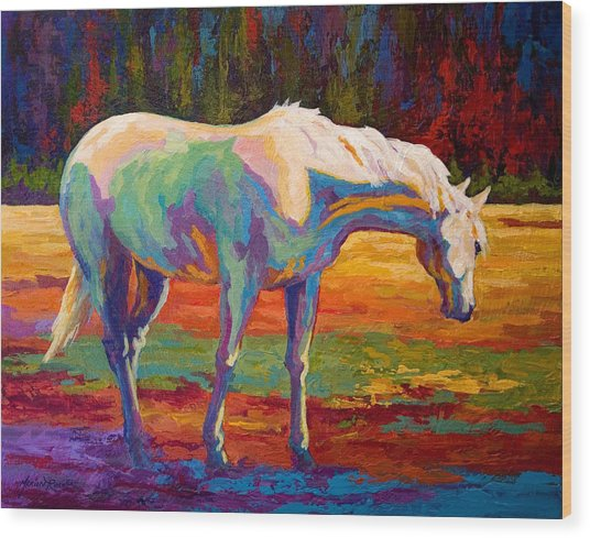 White Mare II Wood Print