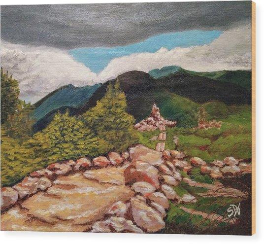 White Mountains Hiking Trail Wood Print by Sheri Doyon