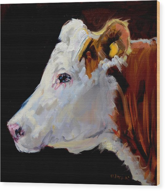 White On Brown Cow Wood Print