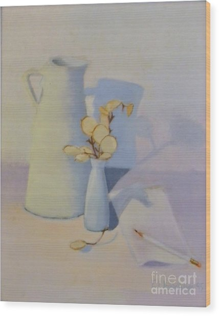 White On White Still Life Wood Print by Emily Michaud