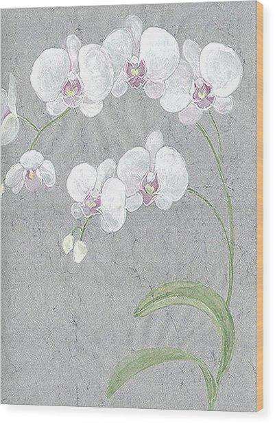 White Orchids On Sprigs  Wood Print by Marja Koskinen-Talavera