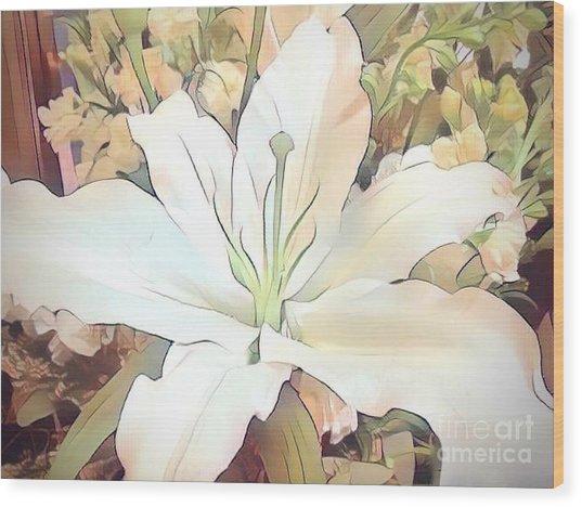 White Painted Lily Wood Print