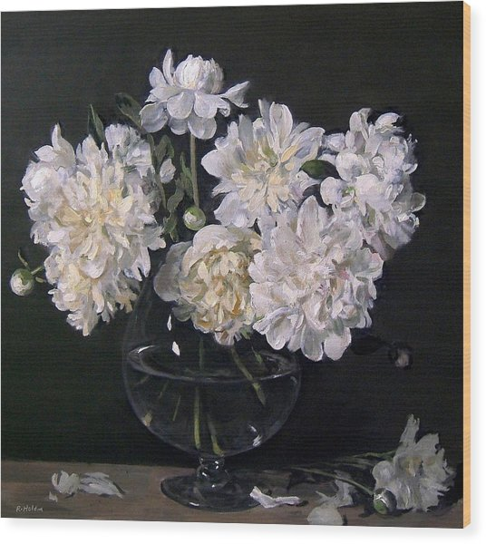 White Peonies Are Ready To Explode Wood Print