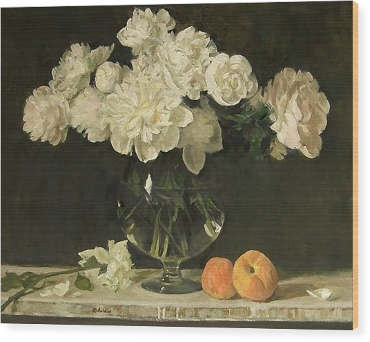 White Peonies In Giant Snifter With Peaches Wood Print
