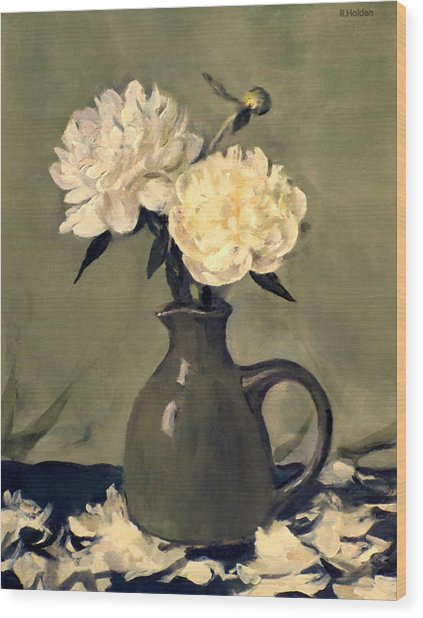 White Peonies In Small Green Pitcher Wood Print