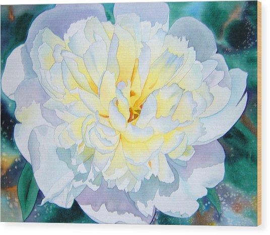 White Peony Wood Print by Teresa Boston