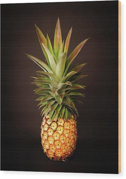 White Pineapple King Wood Print