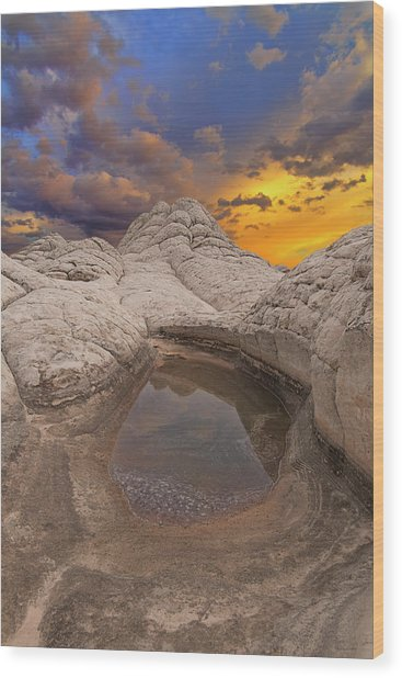 White Pocket Sunset Wood Print