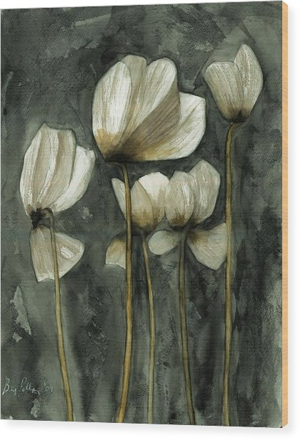 White Poppies Wood Print by Ben Potter