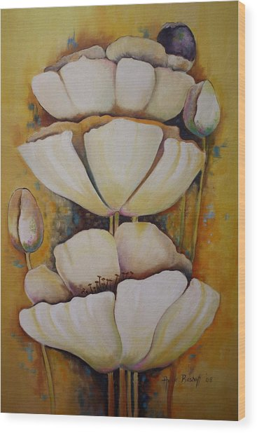 White Poppys Wood Print by Ansie Boshoff