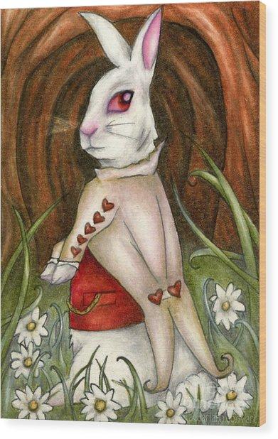 White Rabbit On Way To Wonderland Wood Print