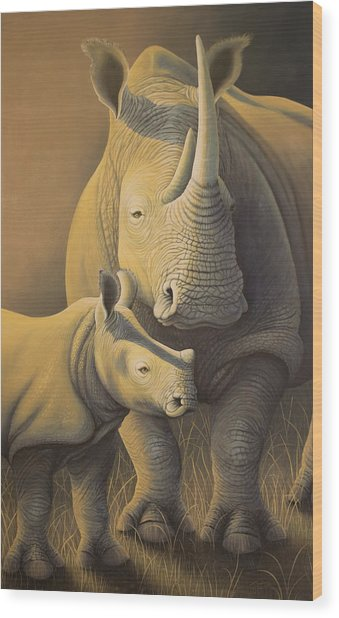 White Rhino Fading Into Extinction Wood Print
