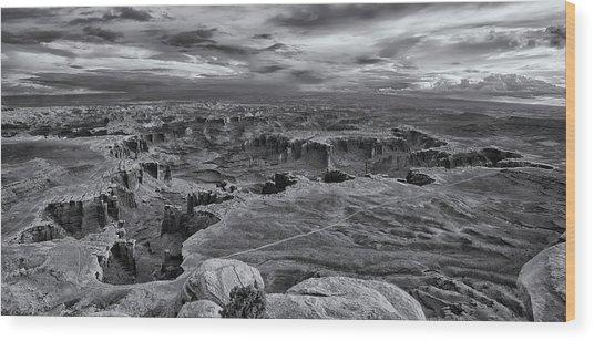 White Rim Overlook Monochrome Wood Print