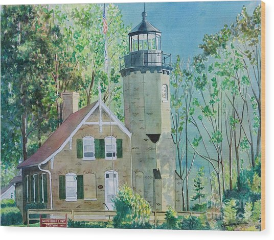 White River Light Wood Print