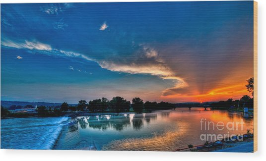 White River Sunset Wood Print by Clayton Cavaness