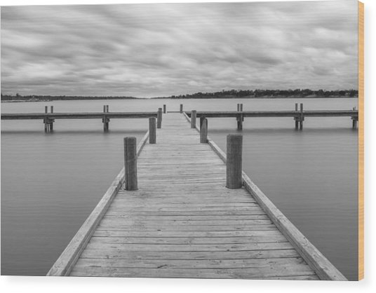 White Rock Lake Pier Black And White Wood Print