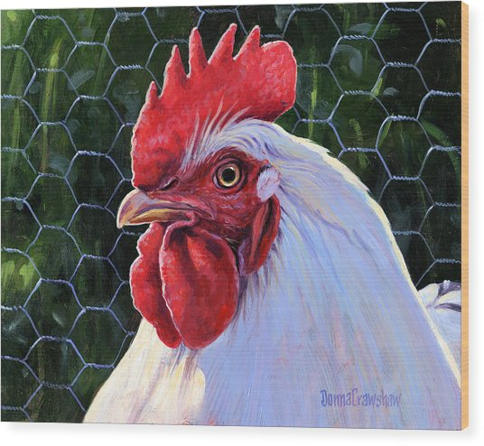 white rooster painting by donna crawshaw