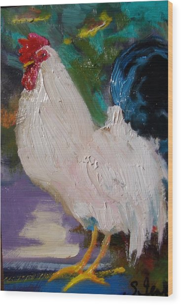 White Rooster Wood Print by Susan Jenkins
