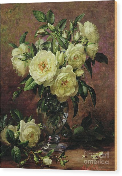 White Roses - A Gift From The Heart Wood Print