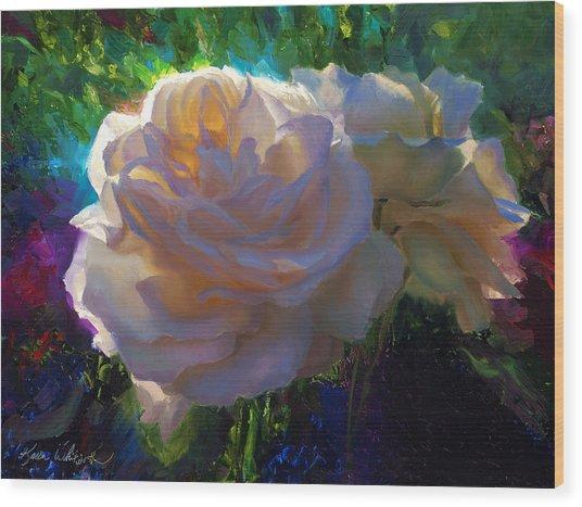 White Roses In The Garden - Backlit Flowers - Summer Rose Wood Print