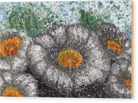 White Saguaro Cactus Blossom Wood Print by Cynthia Ann Swan