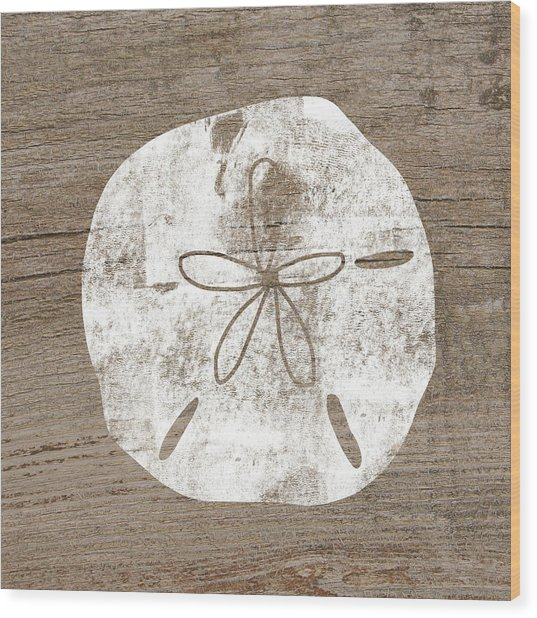 White Sand Dollar- Art By Linda Woods Wood Print